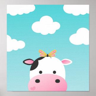 Crèche de BFFs de vache et de papillon Poster