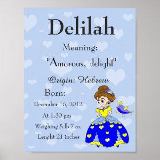 Crèche nommée Delilah de souvenir de signification