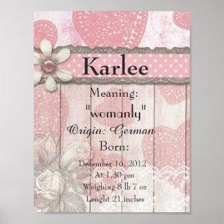 Crèche nommée Karlee de souvenir de signification