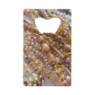 Credit Card Bottle Opener- Earth Tones Beads Print Credit Card Bottle Opener