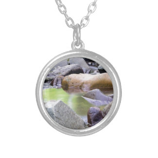 creek among stones silver plated necklace