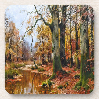 Creek in an Autumn Woodland Forest Vintage Coasters
