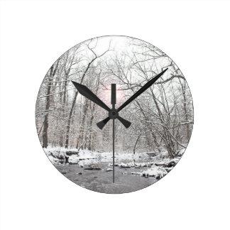 Creek - Winter Round Clock