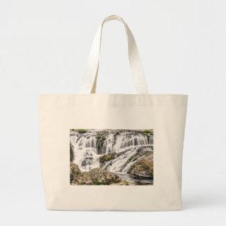 creeks pours over rocks large tote bag