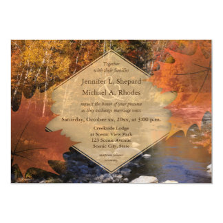Creekside woods maple leaf autumn wedding card