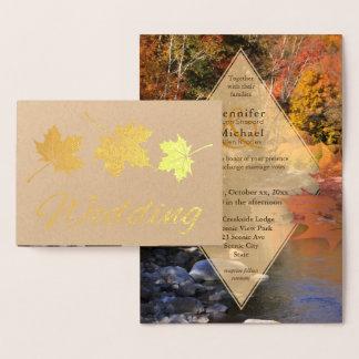 Creekside woods maple leaf autumn wedding gold foil card