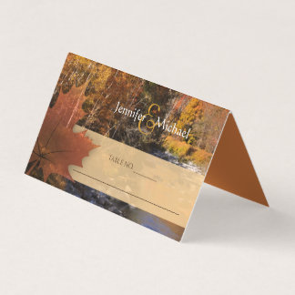 Creekside woods maple leaf autumn wedding guests card