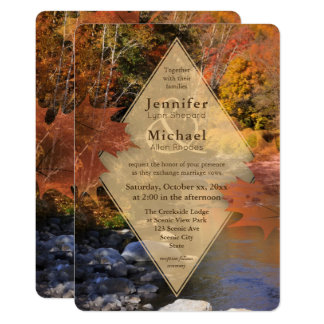 Creekside woods maple leaves autumn wedding card