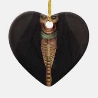 Creep Horror Nun Lady Skull Skeleton Ceramic Heart Ornament