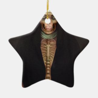Creep Horror Nun Lady Skull Skeleton Ceramic Star Ornament