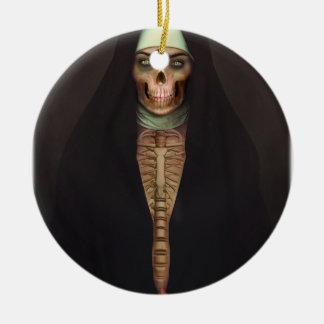 Creep Horror Nun Lady Skull Skeleton Round Ceramic Ornament