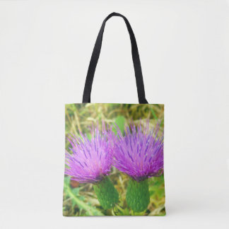 Creeping or Field Thistle All Over Print Tote Bag