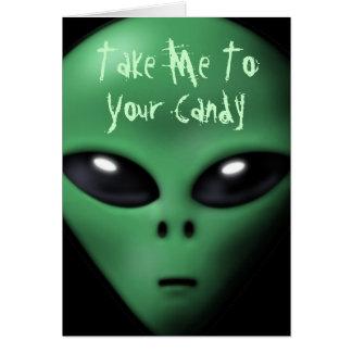 Creepy Alien Halloween Card