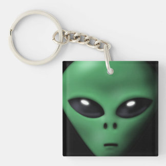 Creepy Alien Square Acrylic Key Chain