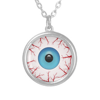 Creepy Bloodshot Blue Eyeball Halloween Silver Plated Necklace