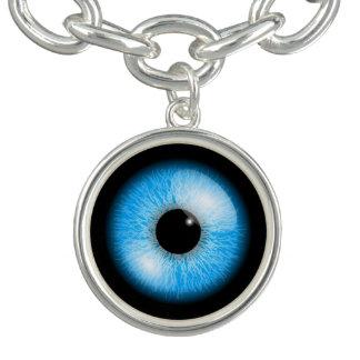 Creepy Blue Realistic Eyeball Halloween Charm Bracelet