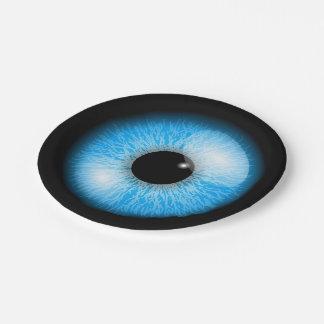 Creepy Blue Realistic Eyeball Halloween Paper Plate