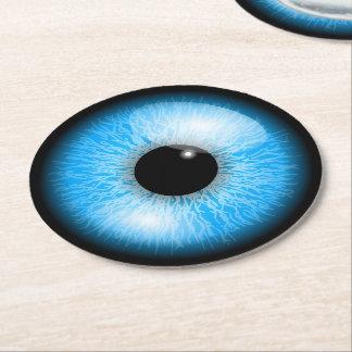 Creepy Blue Realistic Eyeball Halloween Round Paper Coaster