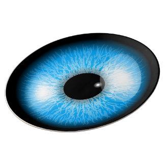 Creepy Blue Realistic Eyeball Plate