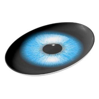Creepy Blue Realistic Eyeball Print Porcelain Serving Platter
