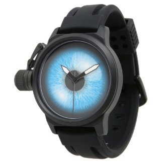 Creepy Blue Realistic Eyeball Print Watch