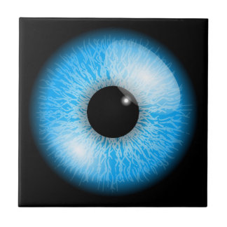 Creepy Blue Realistic Eyeball Tile