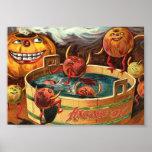 Creepy Bobbing Apples Vintage Halloween Art Print