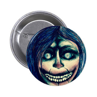 Creepy clown doll grinning face badge 2 inch round button