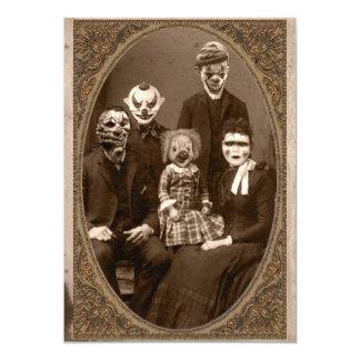 Creepy Clown Family Halloween Party Card