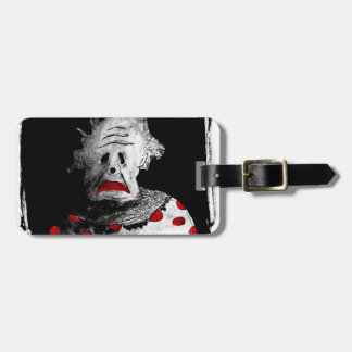 Creepy clown luggage tag