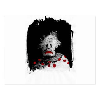 Creepy clown postcard