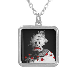 Creepy clown silver plated necklace