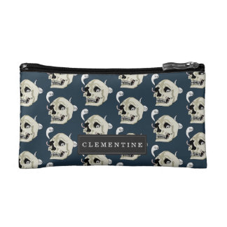 Creepy Crawler Skull with First Name Makeup Bag