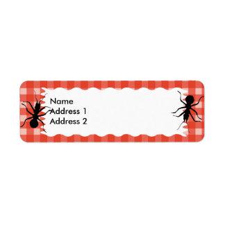 Creepy Crawly Ant Plaid Tablecloth Return Address Label