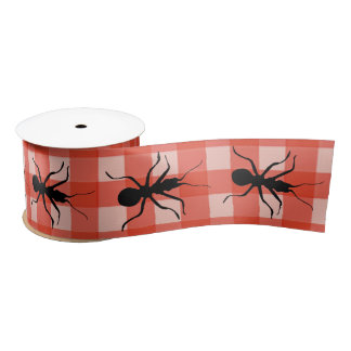 Creepy Crawly Marching Black Ant Plaid Tablecloth Satin Ribbon