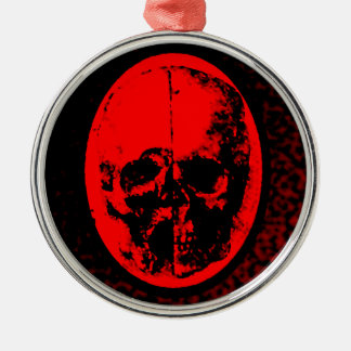 Creepy Crimson Skull Silver-Colored Round Ornament