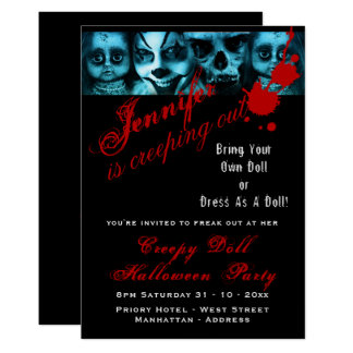 Creepy Doll Costume Party Halloween Evil Scary Card