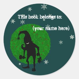 Creepy elf bookplate, dark classic round sticker
