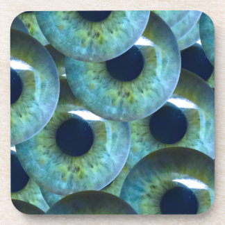 creepy eyeballs beverage coasters