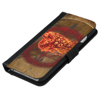Creepy flying  skulls iPhone 6 wallet case