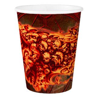 Creepy flying  skulls paper cup