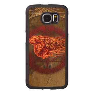 Creepy flying  skulls wood phone case