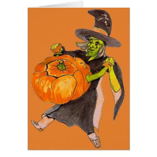 Creepy Funny Halloween Dancing Pumpkin Witch Color Card