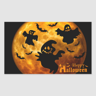 Creepy Ghost, Vampire Bats and Halloween Moon Sticker