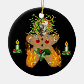 Creepy Gingerbread Man Ceramic Ornament