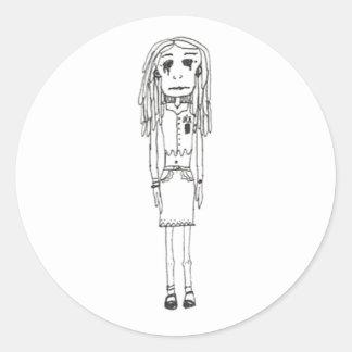 creepy girl s classic round sticker