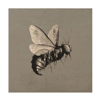 Creepy Gothic Bee Skull Wings Insect Wood Wall Art