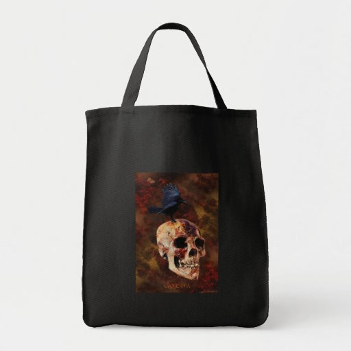 Creepy Gothic Skull and Crow - Halloween Horror Canvas Bag