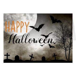 Creepy Graveyard Bats Halloween Card