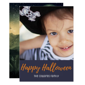 Creepy Graveyard Crow Moon Halloween Photo Card